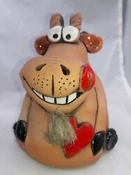 Funny Father's Day Dad Clay Billy Goat Ram Pottery Bank Made In Baltic States