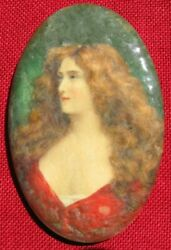Antique Oval Pretty Girl Whitehead And Hoag Advertising Mirror See Condition