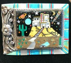 Rare Signed Sally Yazzie Navajo Detail Turquoise Art Inlay Sterling Belt Buckle