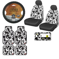 12pc Disney Mickey Mouse Car Truck Floor Mats Seat Covers And Steering Wheel Cover