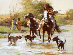 Howard Terpning Yapping Dogs, Native American, Apache, Giclee Canvas A/p 38/40
