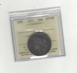 1871 Iccs Graded Canadian Fifty-cent Coin Au-50