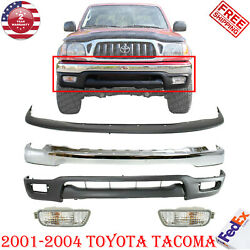 Front Chrome Bumper + Valance + Upper Cover Signal Light For 2001-2004 Tacoma