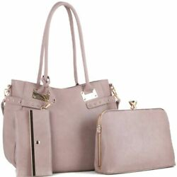 Jewel-Top Cross Body 3 in 1 Tote Bag with Cross body and Wristlet Value SET
