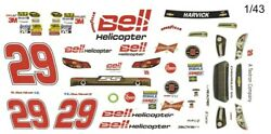 29 Kevin Harvick Bell 1/24th Scale Peel N Stick Tear Proof Vinyl Decal