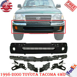 Front Bumper Primed + Brackets Lh+rh And Reinforcement For 98-00 Toyota Tacoma 4wd