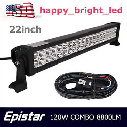 22inch 120w Combo Led Light Bar Offroad Driving Lamp Atv 4x4wd Boat+wiring Kit