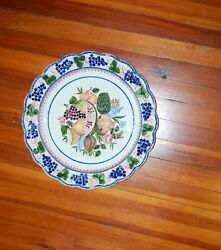 Italian Large Faience Pottery Charger Le Nove Grapes Fruit Stick Spatter