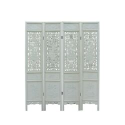 Chinese Distressed Off-white Lacquer 8 Immortal Wood Panel Floor Screen Cs5093