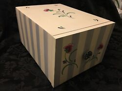 Lenox Poppies On Blue Botanical Wood Recipe Box White And Blue Stripes Floral