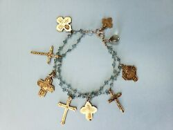 Antique Sterling Silver Bracelet W Silver Gold Filled Cross Religious Charm