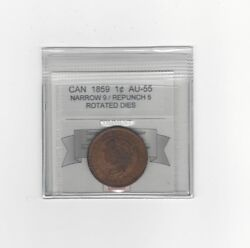 1859 N9 / Repunched 5, Coin Mart Graded Canadian, Large One Centau-55rot D