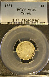 1884pcgs Graded Canadian 10 Cent Vf-35