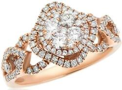 .95ct Diamond 14kt Rose Gold 3d Cluster Flower Double Halo Square Love Ring