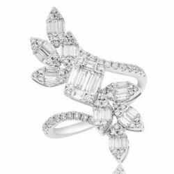 Estate Large 1.27ct Diamond 18kt White Gold Round And Baguette Multi Leaf Fun Ring