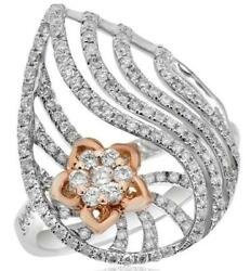 Large .86ct Diamond 14kt White And Rose Gold 3d Flower Star Tear Drop Love Ring