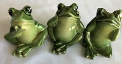 Green 3.5quot; Ceramic Frog HEAR SPEAK SEE NO EVIL Figurine Lot of 3 Pieces
