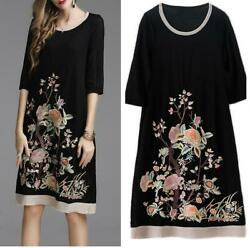 Ethnic Style Womens Floral Embroidery Slim Vintage Crewneck Chinese Dress M-5XL