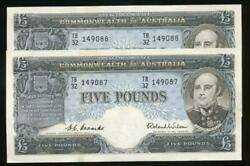 Australia 1954 Five Pounds Andpound5 Coombs/wilson R49 Consecutive Pair - Ef