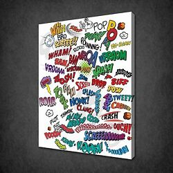 Comic Book Signs Boys Kids Funky Design Box Canvas Print Wall Art Picture