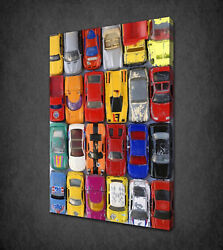 Toy Cars Kids Room Vintage Design Box Canvas Print Wall Art Picture