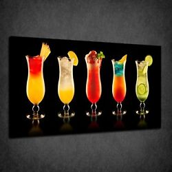 Kitchen Colourful Coctail Drinks Glasses Box Canvas Print Wall Art Picture