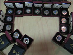 Canada Bird Series Complete Set Of 14 Fabulous Coloured Coins In Boxes With Coa.