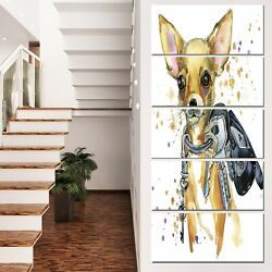 Designart 'Brown Toy Terrier Dog Watercolor' Animal Wall Art Print
