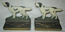 ANTIQUE BRADLEY HUBBARD CAST IRON TERRIER HUNT GUN DOG ART STATUE BOOK BOOKENDS