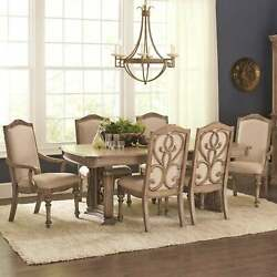 La Bauhinia French Antique Carved Wood Design Dining Set with Buffet Server