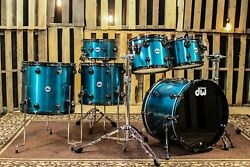 DW Collector's Map/Mahog Anodized Stainless Baby Blue Drum Set - SO#856442