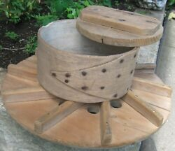 Antique Wooden Cheese Drain Board,mold And Press W/fingerlap Band, Rose Head Nails