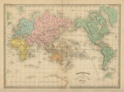 Mappemonde suivant la Projection de Mercator. World. MALTE BRUN c1871 old