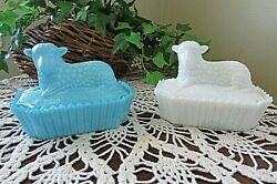 2 Lot Westmoreland Ring Of Fire Glass Opaque Blue/white Milk Glass Lamb Dish