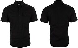AFFLICTION Mens Button Down Shirt JUSTIFY Embroidered BLACK ON BLACK Skulls $68