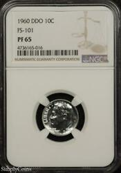 1960 Ddo Fs-101 Roosevelt Silver Dime Ngc Pf65 Proof Variety Tx-165-016