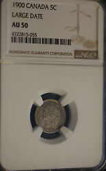 1900 Large Date Round O, Ngc Graded Canadian, 5 Cent, Au-50