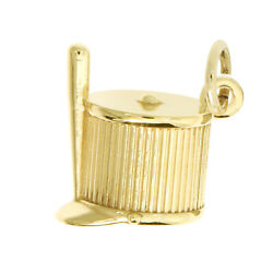 14kt Yellow Gold Polished 3d Majorette Shako Marching Band Hat Charm Pendant