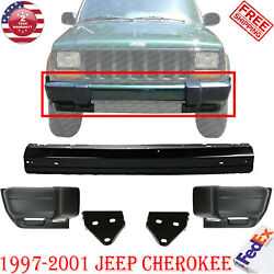 Front Bumper Painted Black Bar +txt End + Bracket For 1997-01 Jeep Cherokee