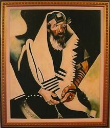 Oil Reproduction By Hand On Canvas Framed Of Marc Chagall The Praying Jew .