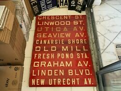 Ny Nyc Bus Roll Sign Seaview Canarsie Shore Linden Fresh Pond Brooklyn Old Mill