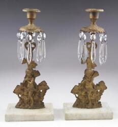 Pair Antique Victorian Marble And Gold Gilt Figural Girandoles With Crystal Prisms