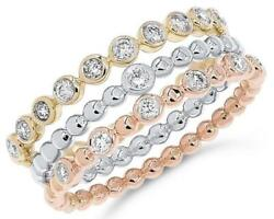 Estate Wide .24ct Diamond 14kt Tri Color Gold 3d Bezel Beaded Stackable Fun Ring