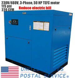 230V/460V Rotary Screw Air Compressor 50HP 115 psi 220 CFM 3-Phase For Industry