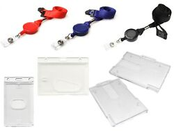 Lanyard Neck Strap With Retractable Reel And Id Card Pass Badge Holder Enclosed