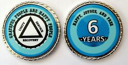 Alcoholics Anonymous 6 Yr. Aqua Silver Rope Edge Sobriety Coin Chip 1 3/4