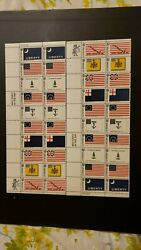 U.S. Scott # 1345-54 Colonial Flags 1968 Plate Blocks of 20-Set of 2 MNH