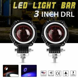 2X 3inch 35w Round CREE LED Work Light Bar Driving Lamp Pods DRL Truck SUV 4WD