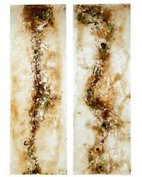 PAIR OF LARGE FRENCH 1950's ACRYLIC ABSTRACT PANELS