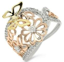 Estate Large .76ct Diamond 18kt Tri Color Gold 3d Flower Butterfly Fun Ring